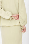 Dalila Plain Ribbon Sleeve Kurung Green