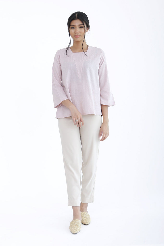 Eve Plain V-Neck Top Pink