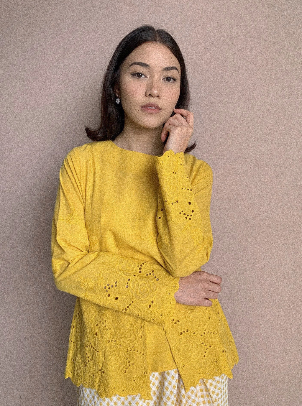 Indah Embroidered Peplum Top Yellow