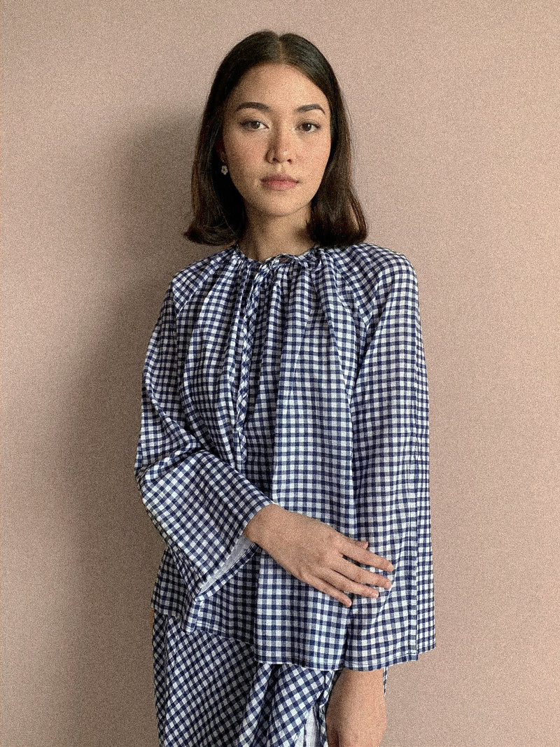 Lana Checkered Ribbon Top Navy Blue