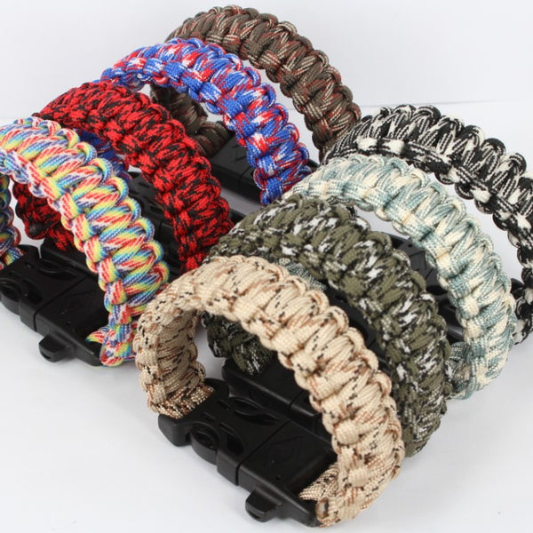Survival Paracord Bracelet Wristband with Fire Starter and Whistle