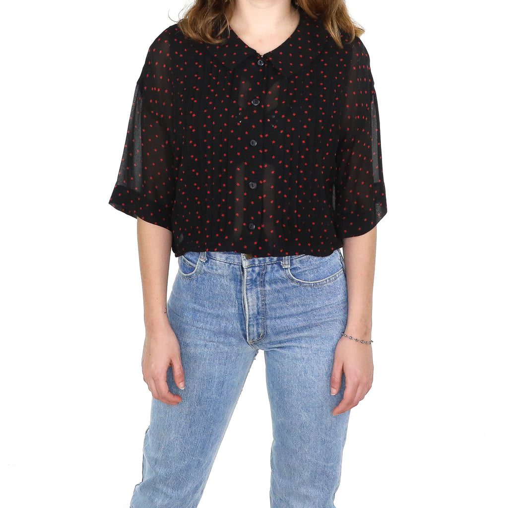 Red Stars on Black Pin Tuck Blouse