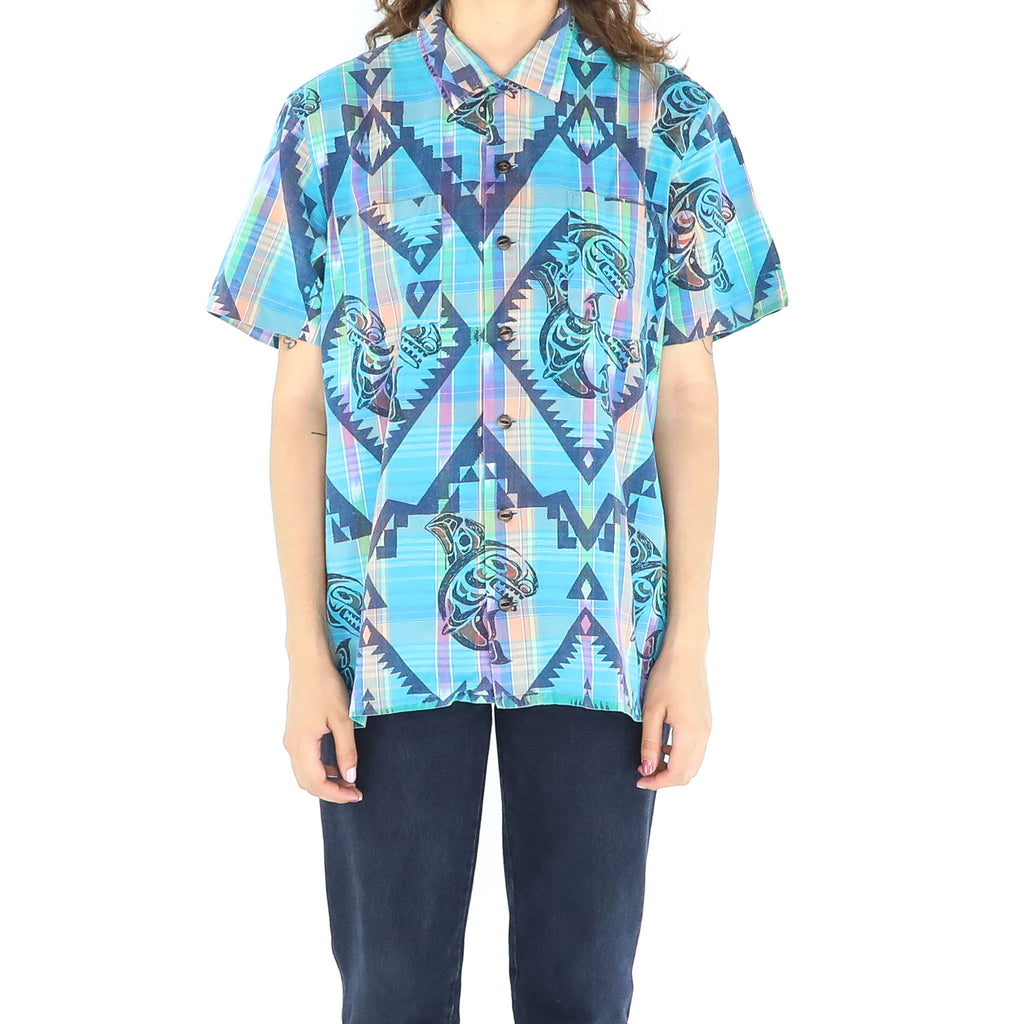 Cyan Cotton Abstract 70's Blouse