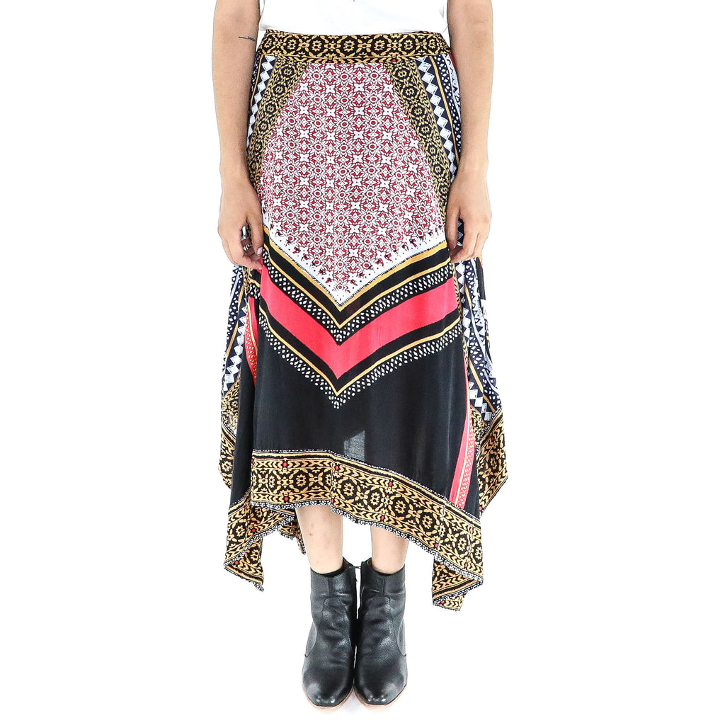 Abstract Rayon Boho Asymmetrical Skirt
