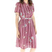 Maroon Stripes 70's Sheath Dress