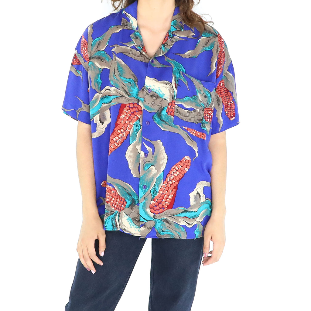 Colorful Abstract Rayon 80's Blouse