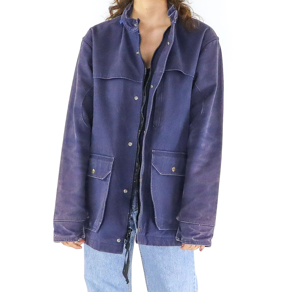 Dark Blue Parka Denim Jacket