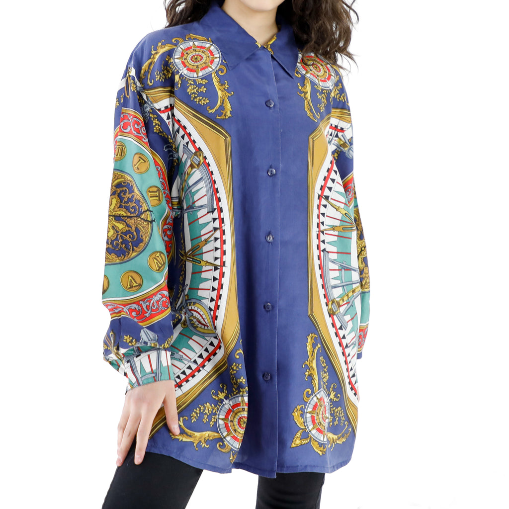 Navy Blue Silk 90's Long Sleeve Blouse