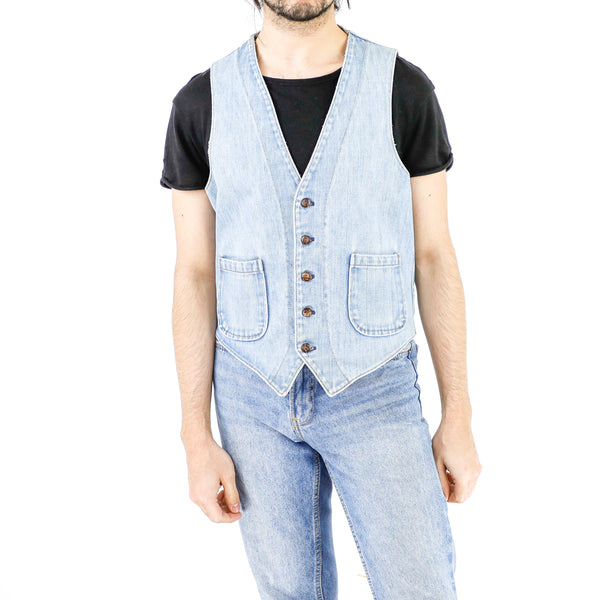 Baby Blue Denim Vest