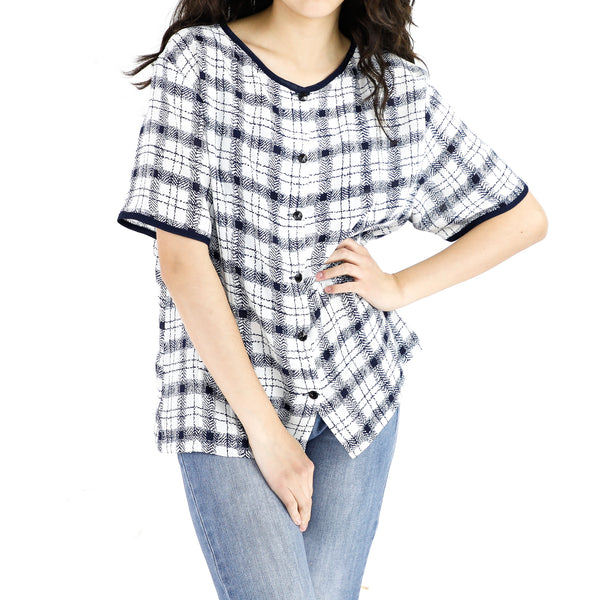 Black & White Plaid Pattern Blouse