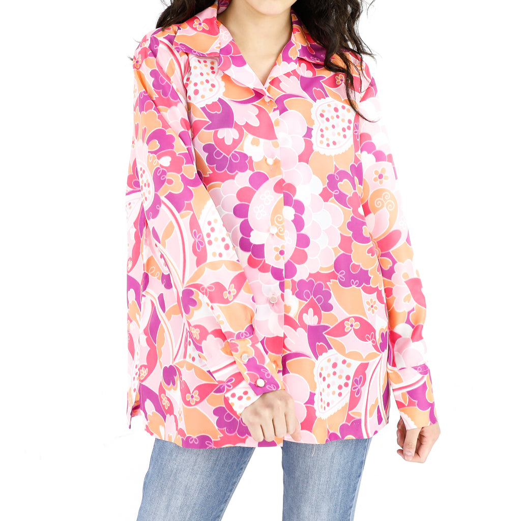 Pink Flower Paradise Long Sleeve Blouse
