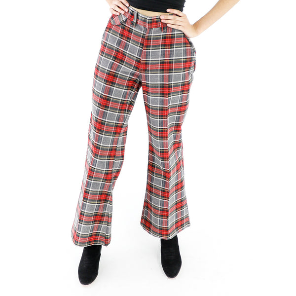 Red, Gold & Gray Plaid Pattern Vintage Pants