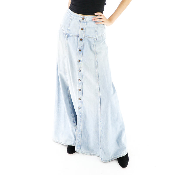 Baby Blue Vintage Denim Maxi Skirt