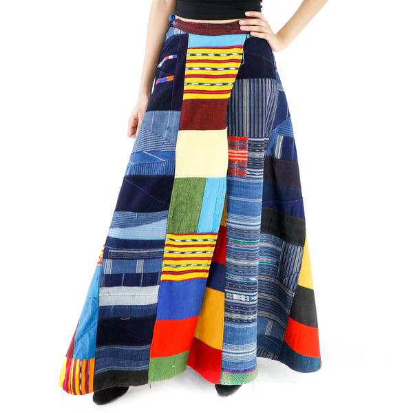 Geometric Collage Vintage Maxi Skirt