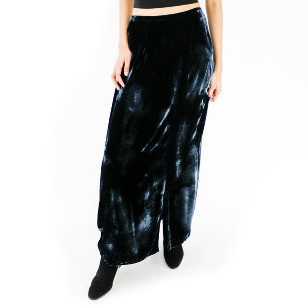 Black Polyester Maxi Skirt