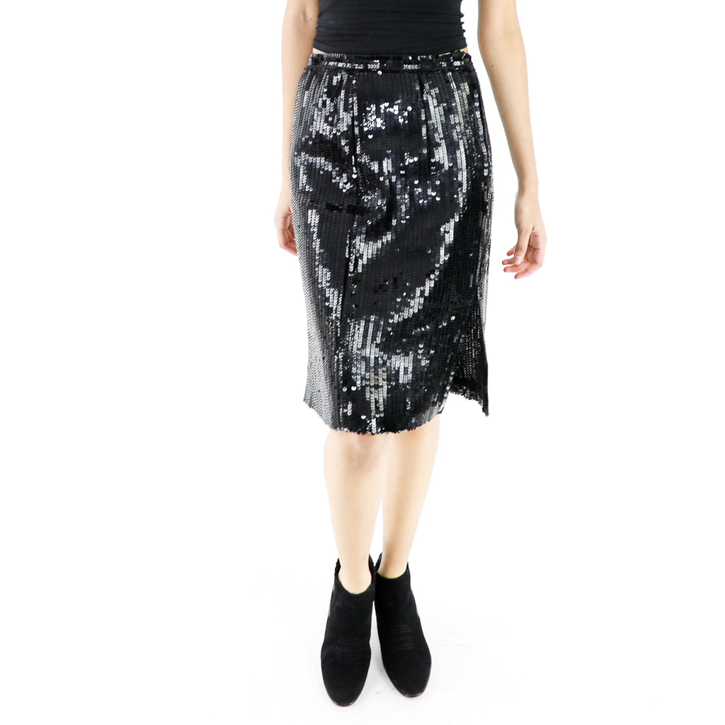 Black Sequin Slit Skirt