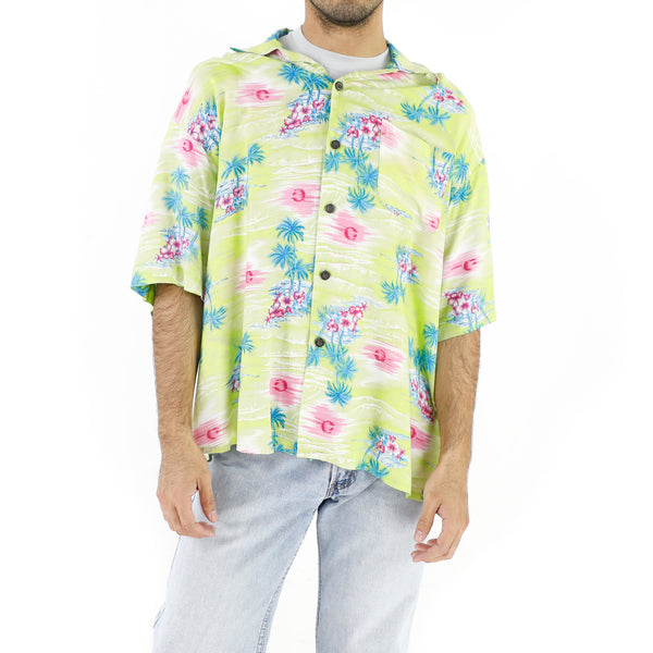 Cerise Hibiscus Tea Green Hawaiian Shirt