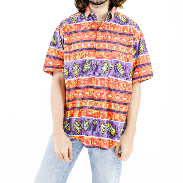 Orange & Purple Aztec Pattern Shirt