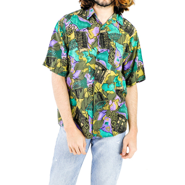 Green & Turquoise Shapes World Shirt