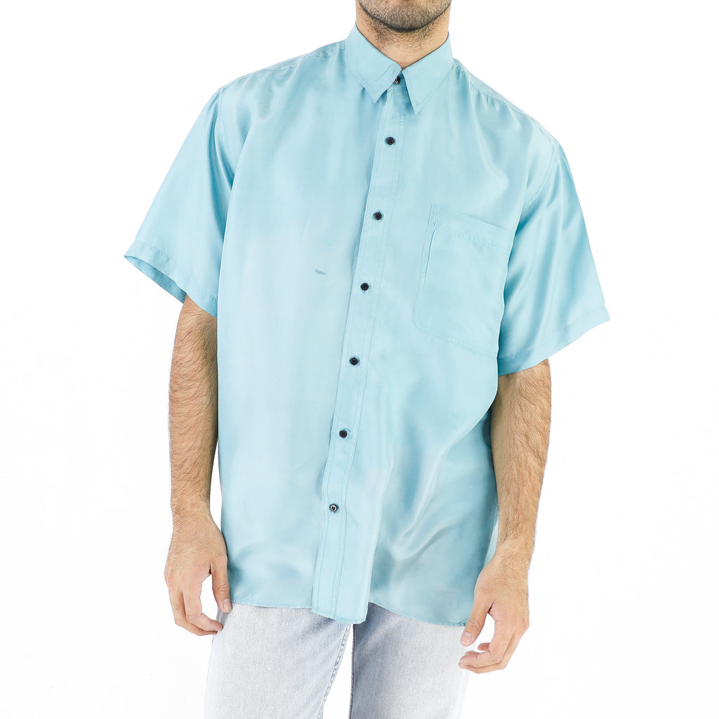 19008244, EVANDER, L, SILK, BABY BLUE, MEN, MEN SHIRTS, SHORT SLEEVE SHIRTS