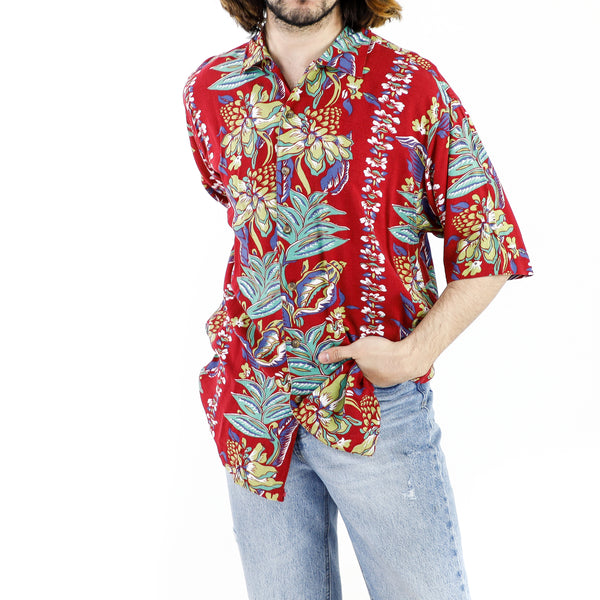 Scarlett Red Rayon Floral Pattern Hawaiian Shirt