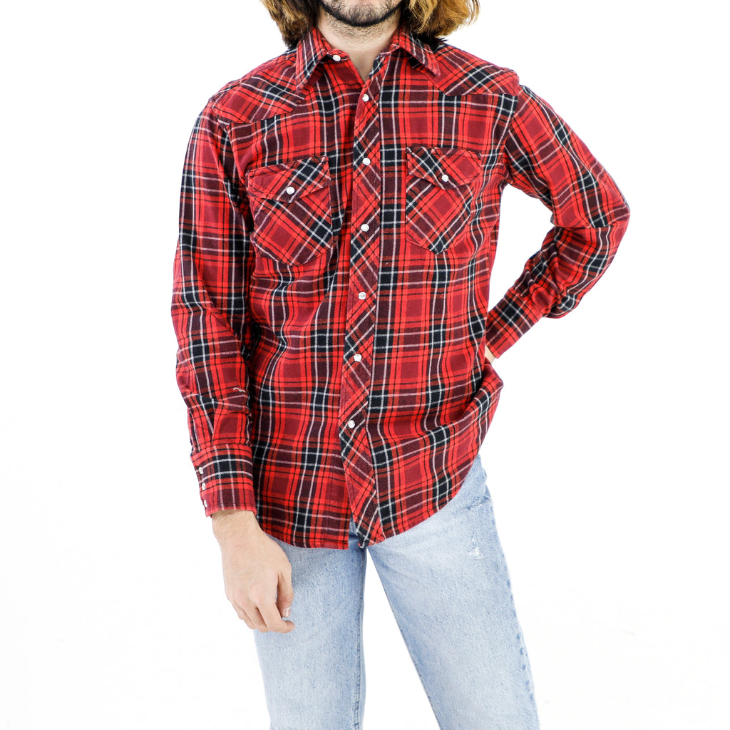 Black, Red & White Tartan Flannel Shirt
