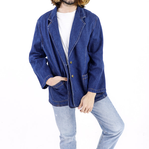 Cobalt Blue Denim Blazer