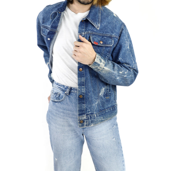 Blue Washed Out Sleeve Denim Jacket