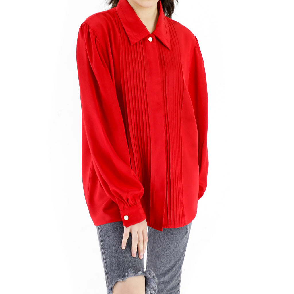 Red 90's Long Sleeve Blouse