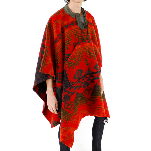 Chili Red Aztec Wool Poncho
