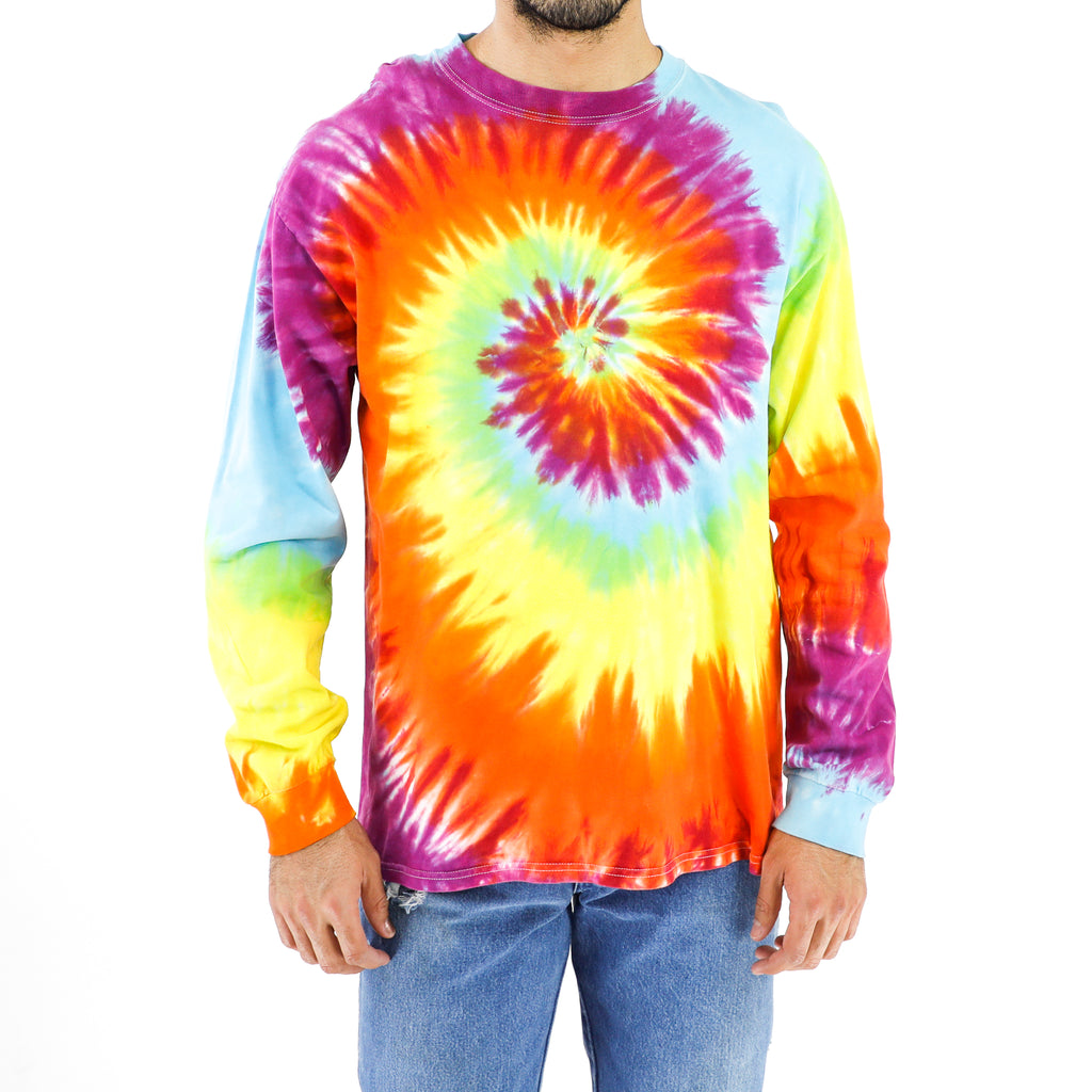 Neon Rainbow Spyral Long Sleeve Vintage T-shirt