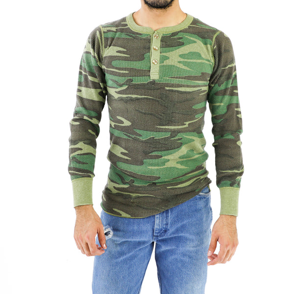Jade Green Camo Long Sleeve Vintage T-shirt