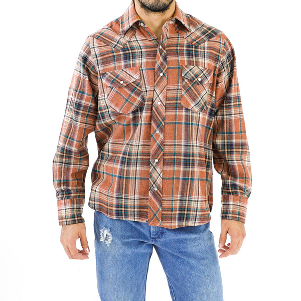 Cider Orange & Teal Plaid Wool Flannel Shirt