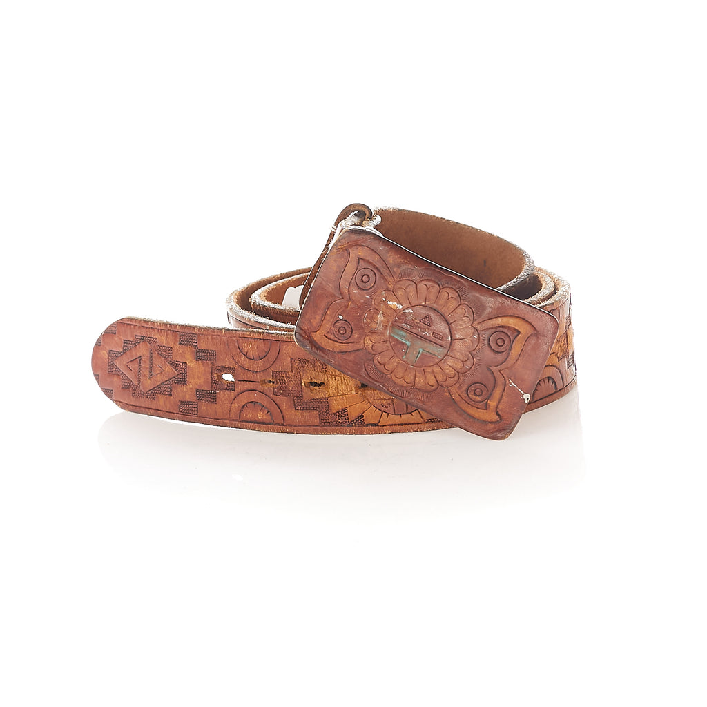 Aztec embossed leather belt