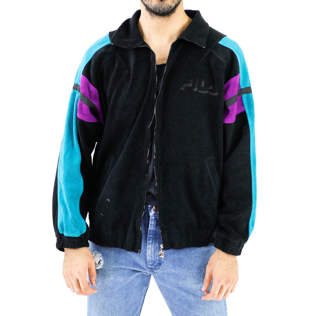 Vintage Fila Black, Purple & Aquamarine Zip Sweatshirt