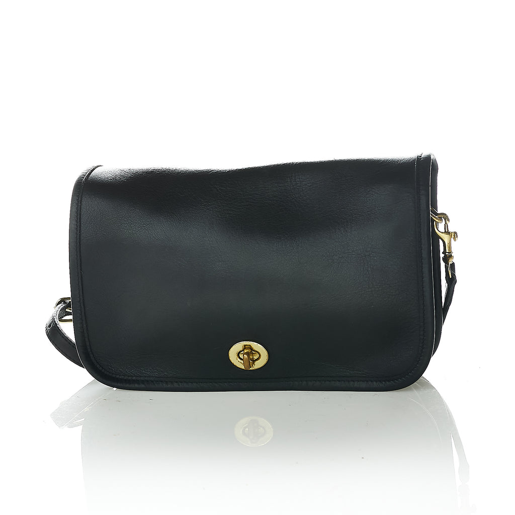Black leather vintage Coach crossbody bag