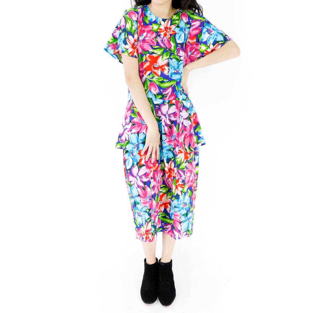 Watercolor Flowers Pegged Dress