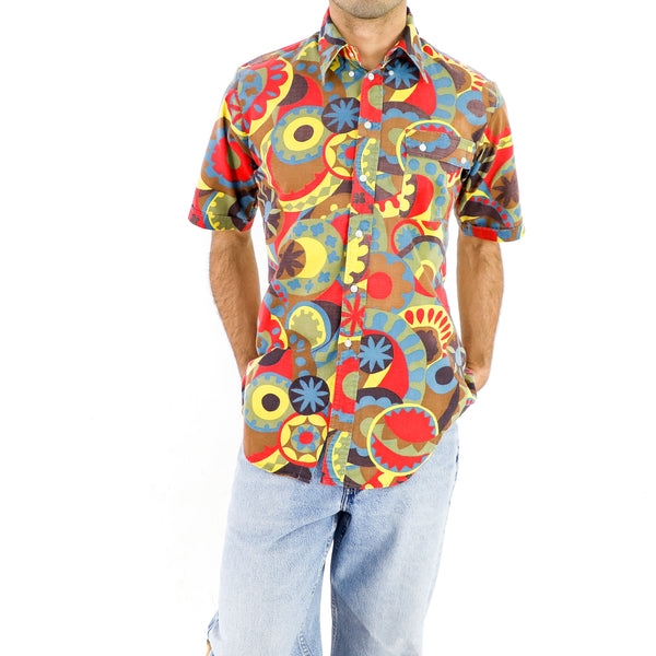 90's Multicolor Geometric Pattern Shirt