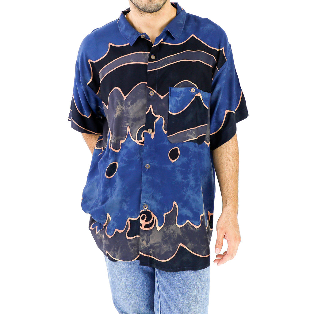 Space Blue & Black Abstract Rayon Shirt