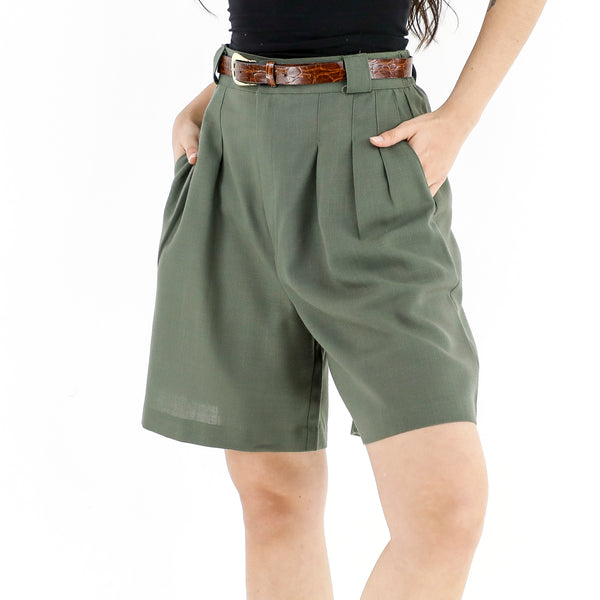 Hunter Green Cotton Shorts
