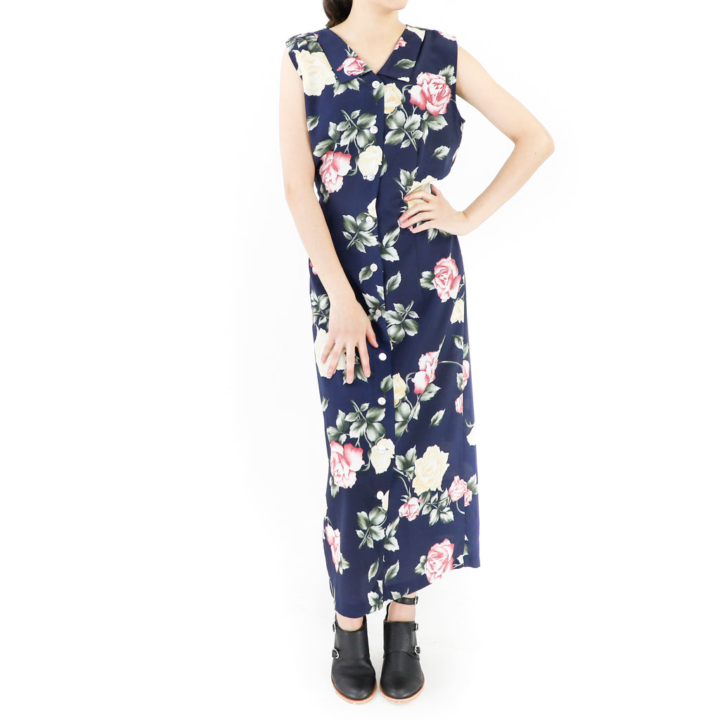 Vintage Navy Blue Floral Maxi Dress