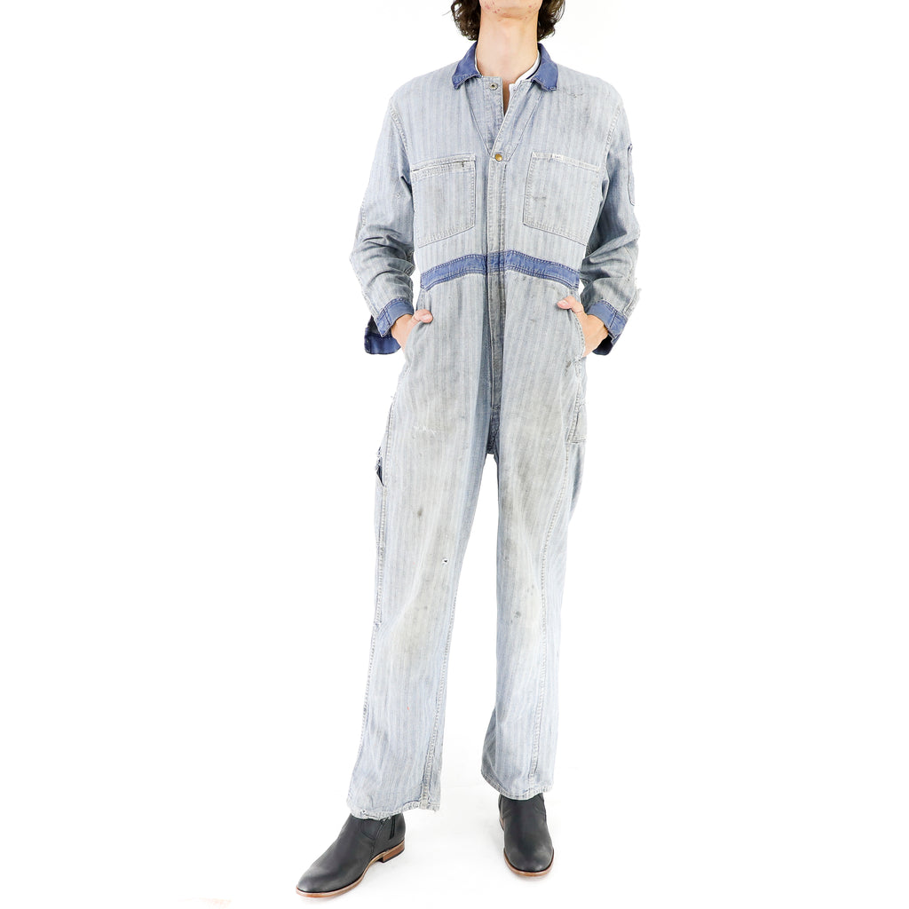 Lee Stripes Pattern Denim Overall