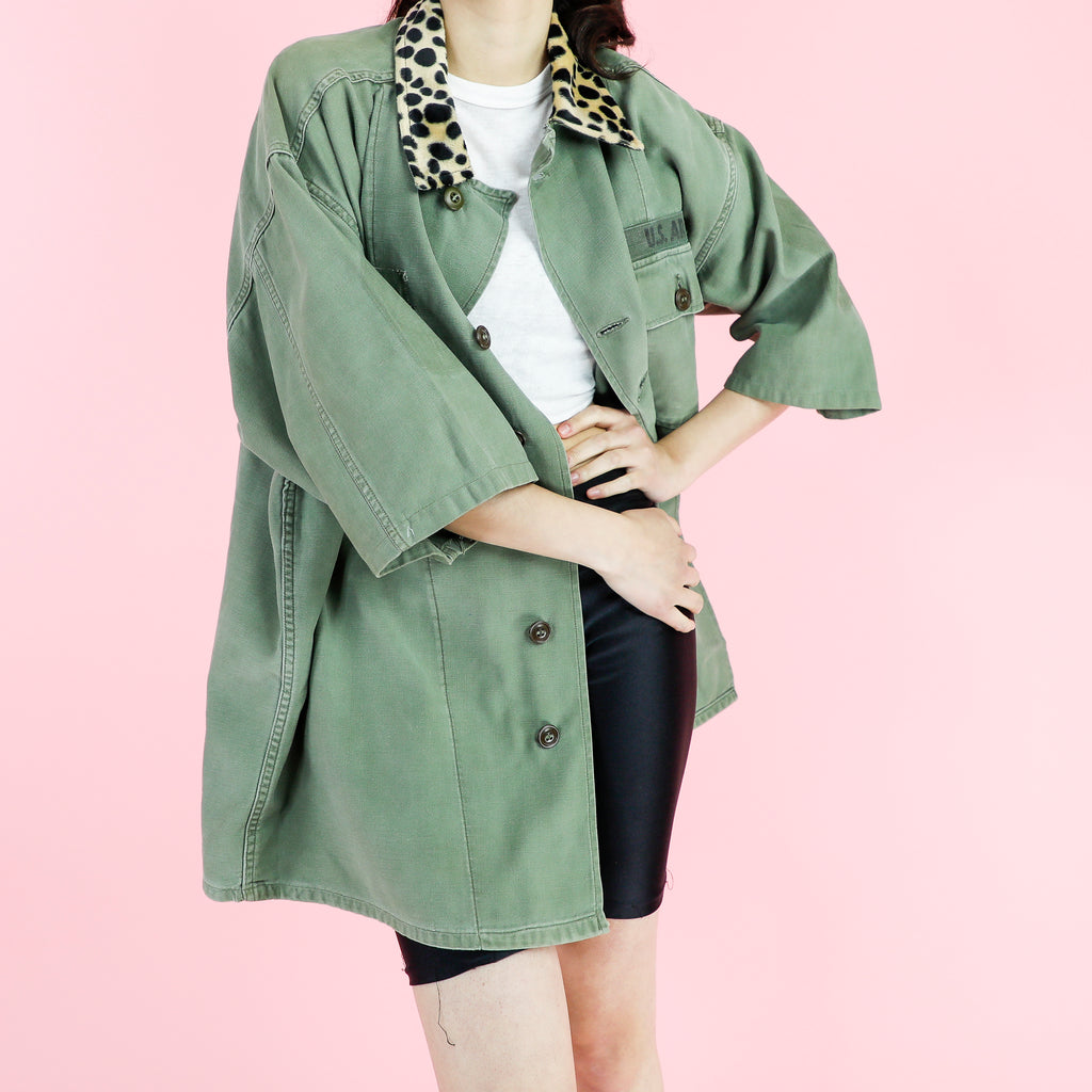 Animal Print Collar Olive Jacket Not camo
