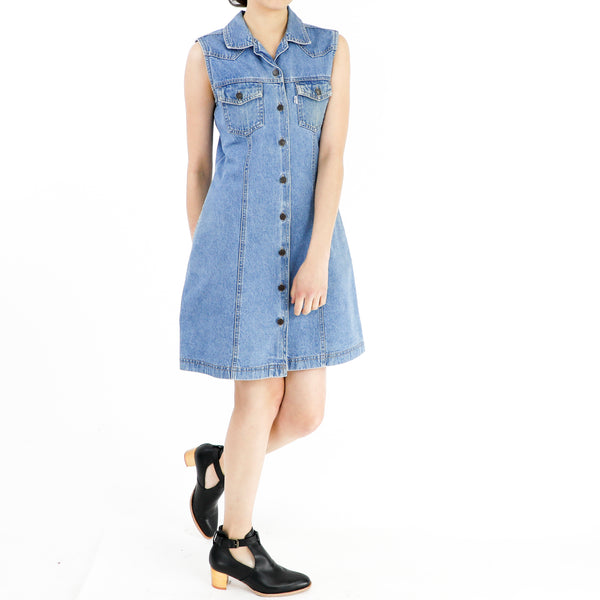 Vintage Cobalt Blue Denim Shirt Dress