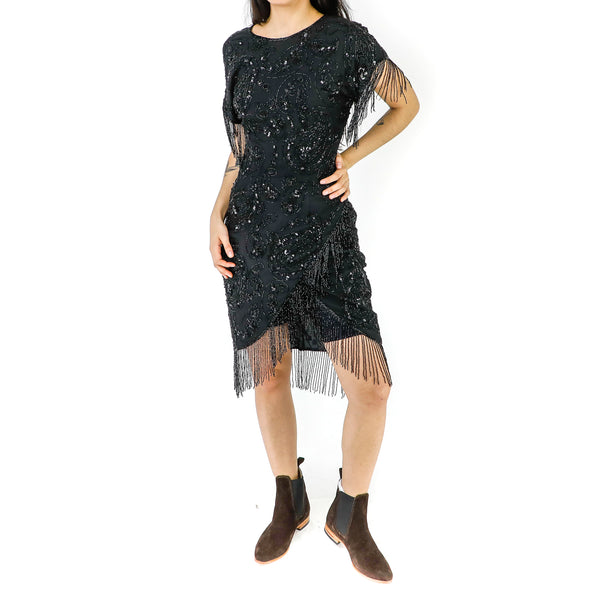 Black Sequin & Fringes Sheath Dress