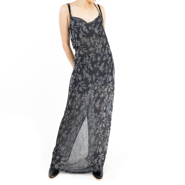 Gray Ivory on Black Maxi Dress