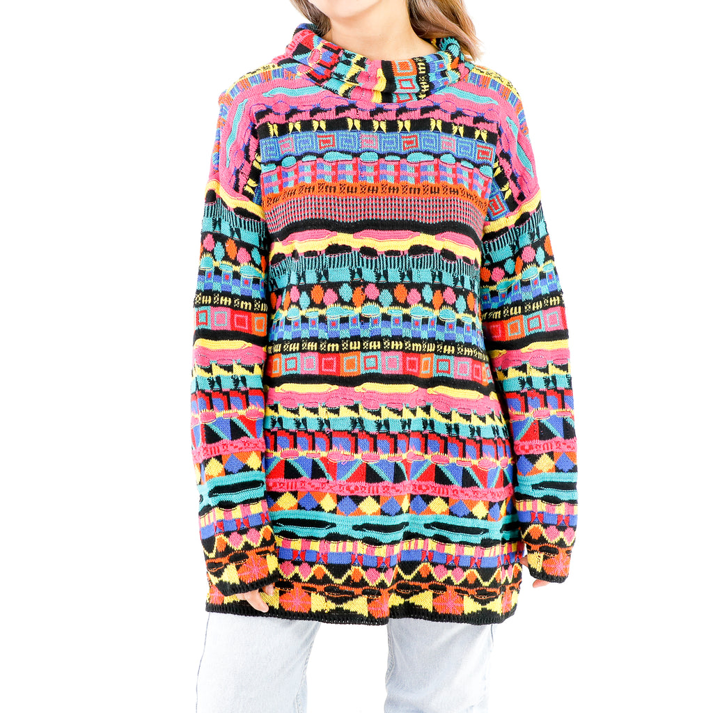 Multicolor Geometric Embroidered coogi style Sweater