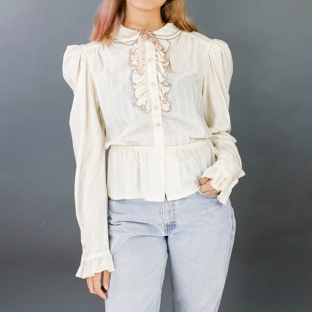 Simple Ivory Long Sleeve Blouse