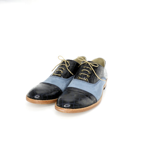 1920's Derby cap toe  Gray & Blue leather