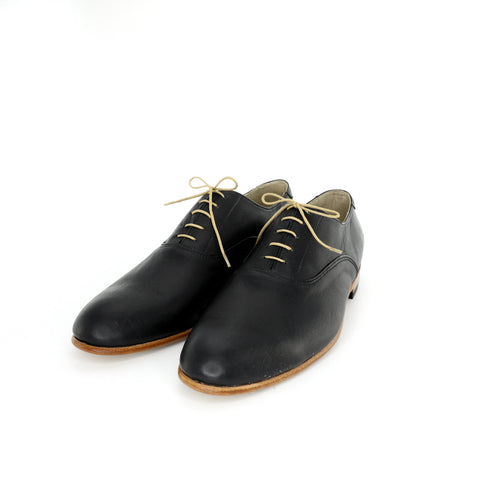1920's black derby plain toe shoes